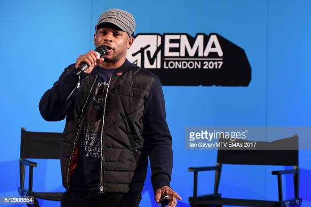 Sway speaks on stage during the Velocity 'On Set with Viacom' Showcase held at Ambika P3 ahead of the MTV EMAs 2017 on November 11 2017 in London...