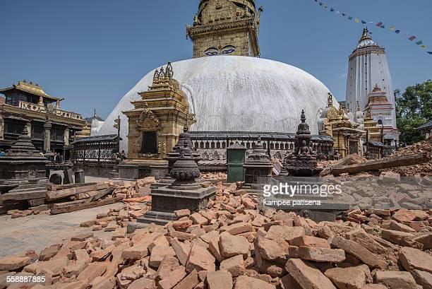 Swayambhunath damaged after the major earthquake