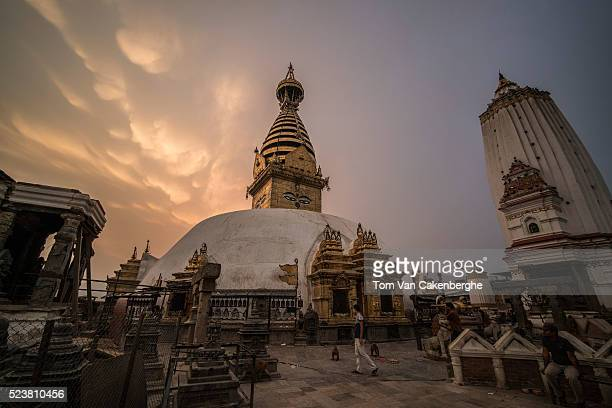 Swayambhunath , did not sustain damage during last year's earthquake, but smaller structures surrounding , as well as the two Buddhist monasteries...