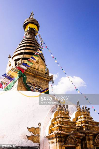 swayambhunath (monkey temple) stupa in kathmandu, nepal. ancient religious architecture atop a hill in the kathmandu valley, west of kathmandu city. image with copy space. - stupa stock pictures, royalty-free photos & images