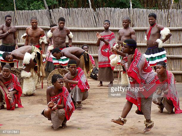 swazi people performing traditional tribal dance - swaziland stock pictures, royalty-free photos & images