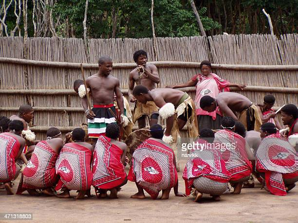 swazi people performing tribal dance - swaziland stock pictures, royalty-free photos & images