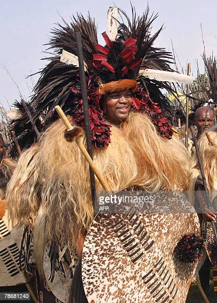 Swaziland absolut monarch Mswati III attends the Incwala festival 27 December 2007 in Ludzizini Swaziland Swaziland was wrapping up Monday one its...