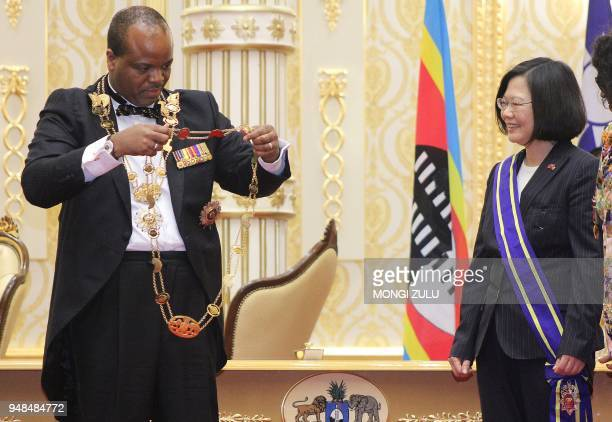 Swaziland absolute Monarch King Mswati III bestows the Order of the Elephant to Taiwan President Tsai Ingwen during her visit to the Kingdom of...
