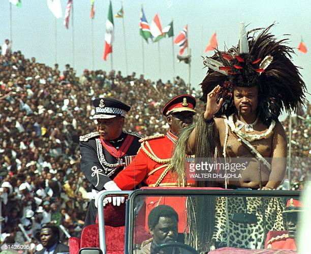 Swaziland King Mswati III salute the crowd upon arrival for the celebration of his 30th birthday which coincides with the 30th anniversary of Swazi...