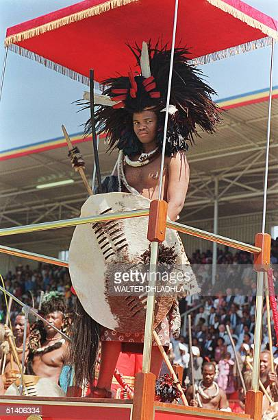 Swaziland King Mswati III who succeeded 25 April 1986 his father King Sobhuza II who died in 1982 at the age of 82 salutes the crowd during...