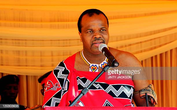 Swaziland's King Mswati III delivers a speech during the launch of a campaign calling for his male subjects to get circumcised to curb the spread of...