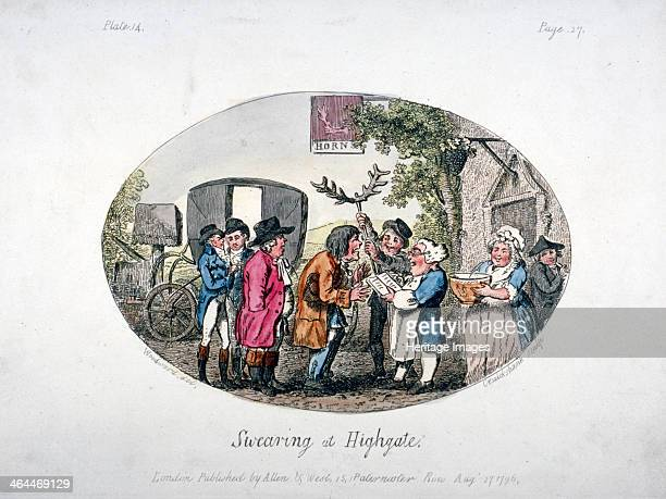 'Swearing at Highgate' 1796 A scene outside the Horns Tavern A portly man is taking an oath before the innkeeper while another man holds a pair of...