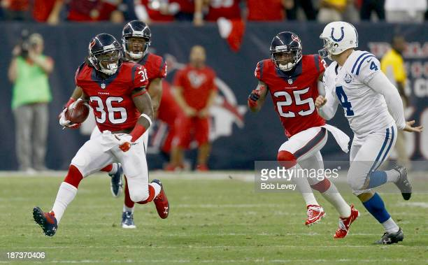 J Swearinger of the Houston Texans advances the ball after a field goa attempt was blocked in the first quarter against the Indianapolis Colts at...