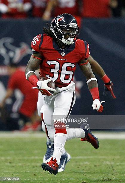 J Swearinger of the Houston Texans advances the ball after a field goal attempt was blocked in the first quarter against the Indianapolis Colts at...