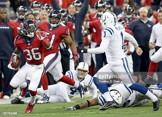 J Swearinger of the Houston Texans returns a blocked Adam Vinatieri of the Indianapolis Colts filed goal on November 03 2013 at Reliant Stadium in...