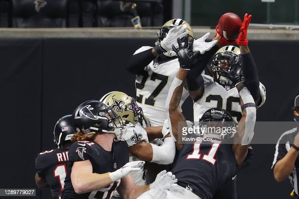 Swearinger of the New Orleans Saints breaks up a last second hail mary pass against the Atlanta Falcons at Mercedes-Benz Stadium on December 06, 2020...