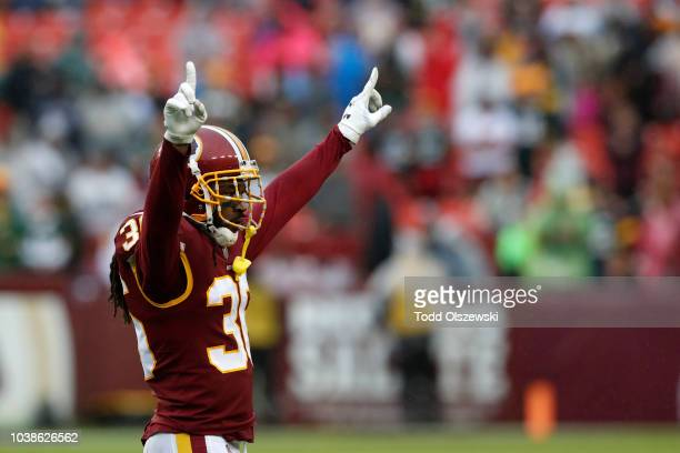 J Swearinger of the Washington Redskins celebrates after the 3117 win over the Green Bay Packers at FedExField on September 23 2018 in Landover...