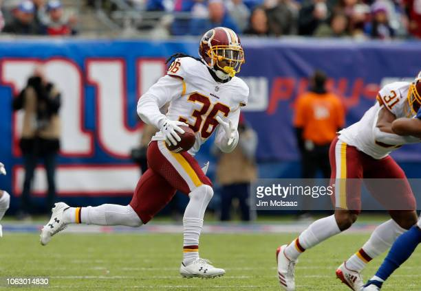 DJ Swearinger of the Washington Redskins in action against the New York Giants on October 28 2018 at MetLife Stadium in East Rutherford New Jersey...