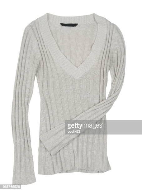 sweater against white background - langärmlig stock-fotos und bilder