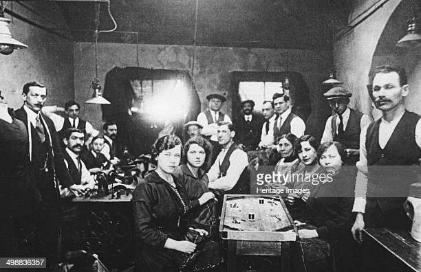 Sweatshop East End of London c1920s Employees in a crowded tailoring workshop