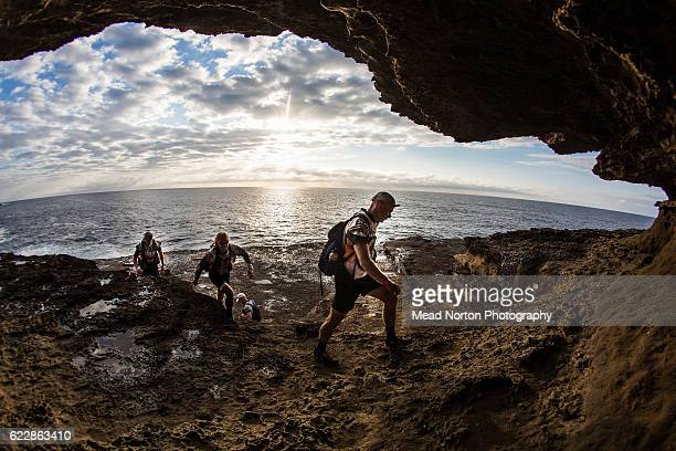 Sweco Adventure Team from Sweeden climbing back up the rocks during the Adventure Race World Championship on November 11 2016 in Shoalhaven Australia