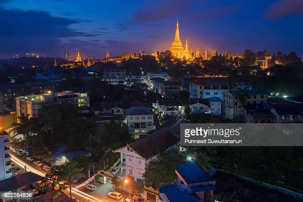 swedagon pagoda landmark of yangon, myanmar - myanmar stock pictures, royalty-free photos & images