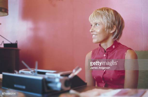Swede Ulla Thorsell third wife of french singer and songwriter of Armenian origin Charles Aznavour on holiday in the South of France