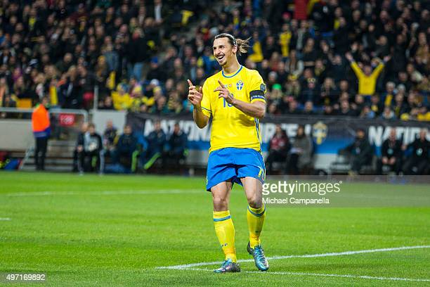 Sweden 10 Zlatan Ibrahimovic durring a European Qualifier PlayOff between Sweden and Denmark on November 14 2015 in Solna Sweden