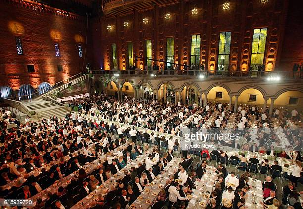 STOCKHOLM Sweden A banquet is held at the city hall in Stockholm on Dec 10 following the Nobel Prize award ceremony at the Stockholm Concert Hall in...