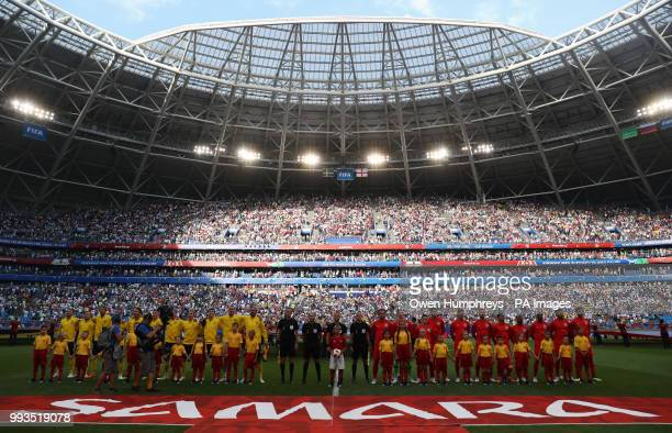 Sweden and England players line up before the FIFA World Cup Quarter Final match at the Samara Stadium