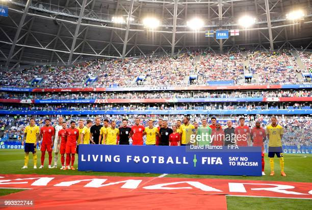 Sweden and England pose with a Fair Play board prior to the 2018 FIFA World Cup Russia Quarter Final match between Sweden and England at Samara Arena...