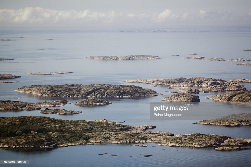 Sweden, Bohuslan, aerial view of sea and rocks : Stockfoto