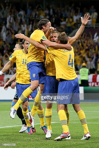 Sweden celebrate after Olof Mellberg of Sweden scored their second goal goal during the UEFA EURO 2012 group D match between Sweden and England at...