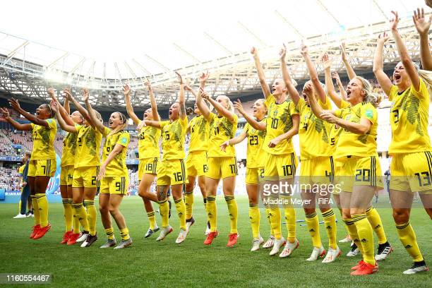 Sweden celebrates after winning the 2019 FIFA Women's World Cup France 3rd Place Match match between England and Sweden at Stade de Nice on July 06,...