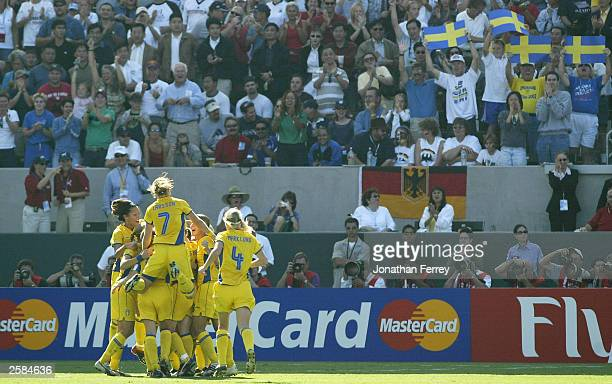 Sweden celebrates Hanna Ljungberg''s goal over Germany during the FIFA Women''s World Cup Final on October 12 2003 at the Home Depot Center in Carson...