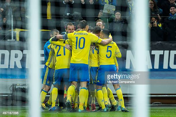 Sweden celebrates scoring the opening goal during the European Qualifier PlayOff between Sweden and Denmark on November 14 2015 in Solna Sweden