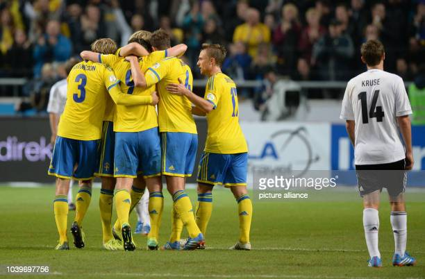 Sweden celebrates their 20 goal during the World Cup group C qualification match at Friends Arena Solna in Stockholm Sweden 15October 2013 Photo...