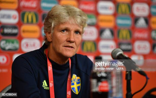Sweden coach Pia Sundhage during the press conference after the UEFA Women's EURO 2017 QuarterFinal match between the Netherlands and Sweden at...