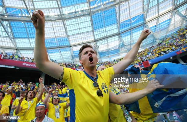 Sweden fans celebrate following the 2018 FIFA World Cup Russia group F match between Sweden and Korea Republic at Nizhniy Novgorod Stadium on June 18...
