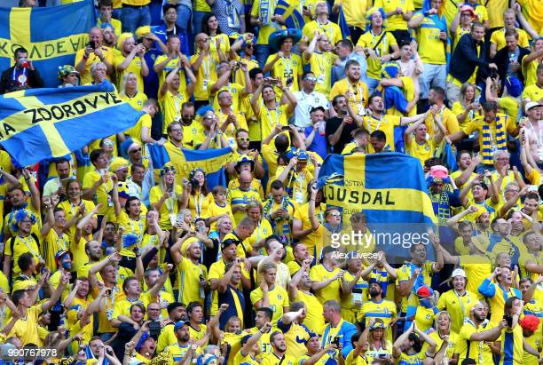 Sweden fans celebrate following their sides victory in the 2018 FIFA World Cup Russia Round of 16 match between Sweden and Switzerland at Saint...