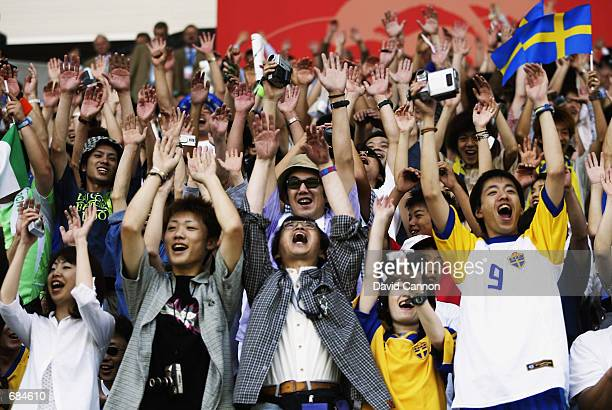 Sweden fans during the FIFA World Cup Finals 2002 Group F match between Sweden and Nigeria played at the Kobe Wing Stadium, in Kobe, Japan on June 7,...