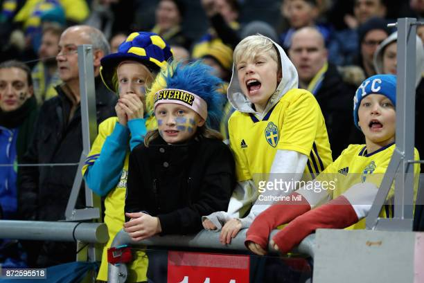 Sweden fans enjoy the pre match atmosphere prior to the FIFA 2018 World Cup Qualifier PlayOff First Leg between Sweden and Italy at Friends arena on...