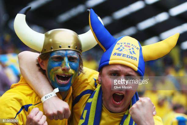 Sweden fans show their support ahead of the UEFA EURO 2008 Group D match between Sweden and Spain at Stadion Tivoli Neu on June 14 2008 in Innsbruck...