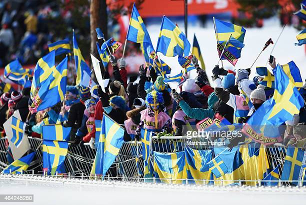 Sweden fans wave flags during the CrossCountry Team Sprint during the FIS Nordic World Ski Championships at the Lugnet venue on February 22 2015 in...
