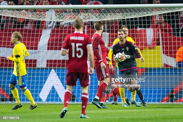 Sweden goalkeeper 1 Andreas Isaksson durring a European Qualifier PlayOff between Sweden and Denmark on November 14 2015 in Solna Sweden
