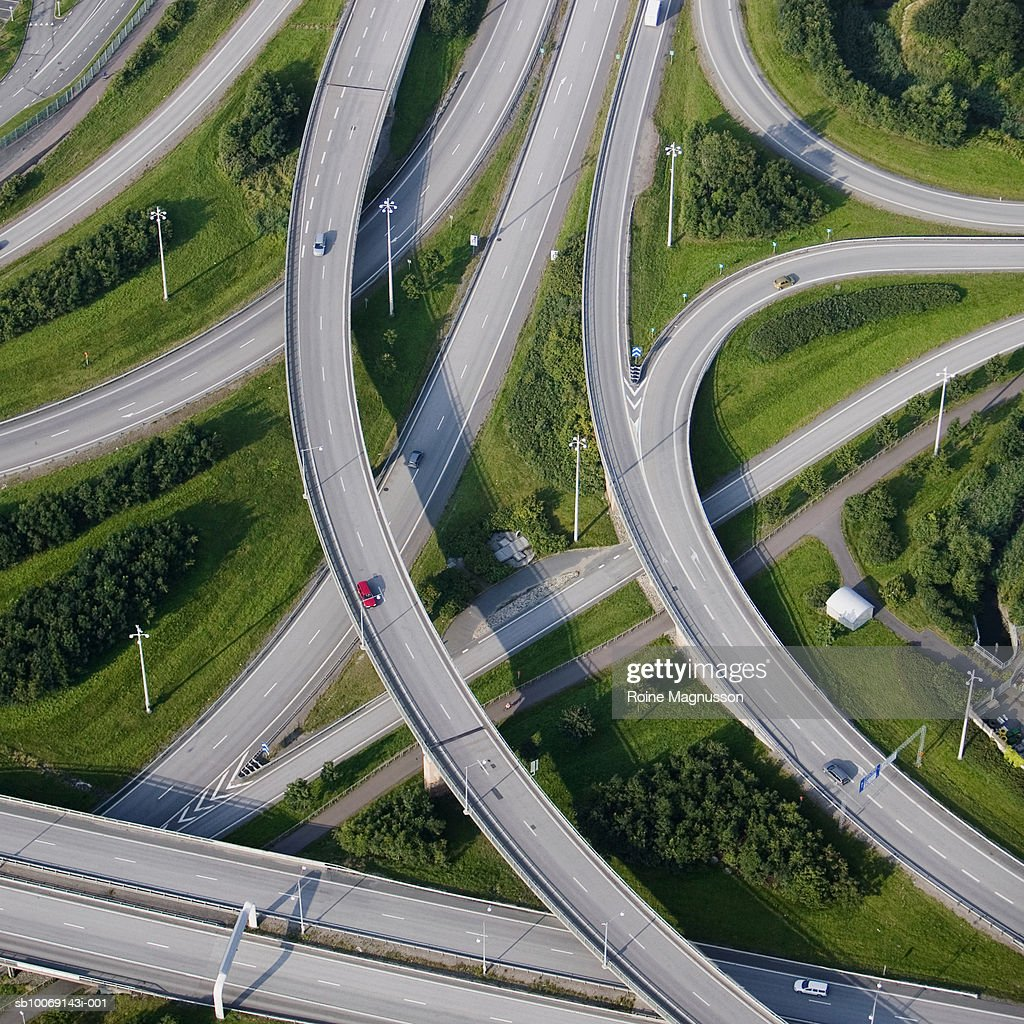 Sweden, Goteborg, aerial view of highway junction : Stockfoto