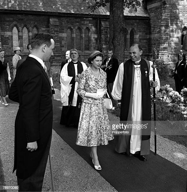 Sweden HM Queen Elizabeth II is pictured leaving the English Church in Stockholm with Right Rev RW Stopford now Bishop of Peterborough