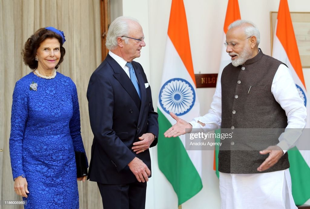 Sweden's King Carl XVI Gustaf and Queen Silvia in New Delhi : News Photo