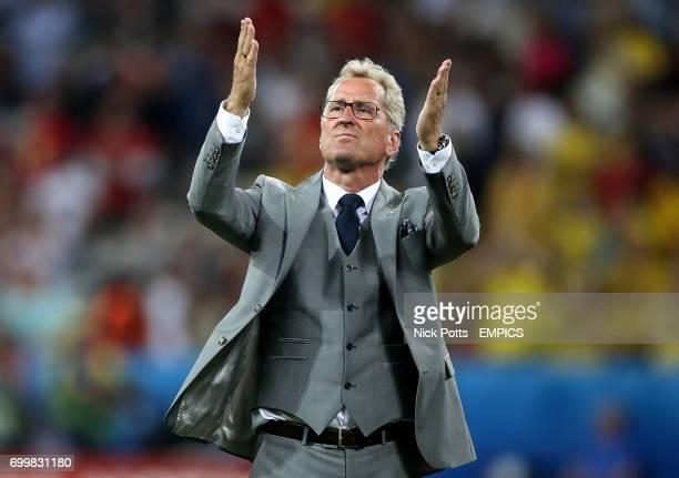 Sweden manager Erik Hamren acknowledges the fans after the final whistle