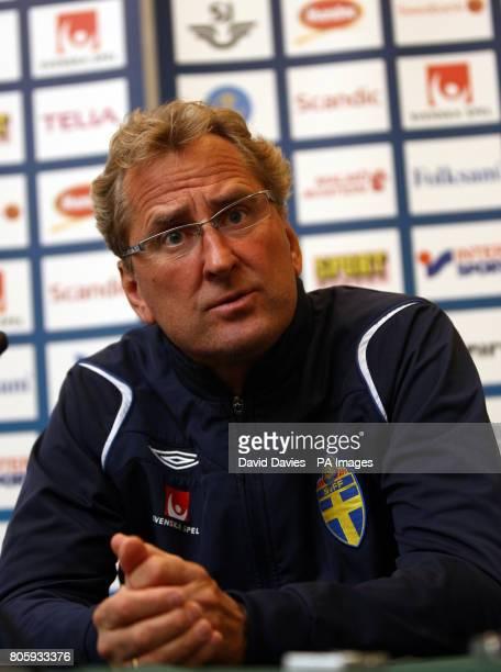 Sweden manager Erik Hamren during the media session at Swansea Marriot Hotel Swansea