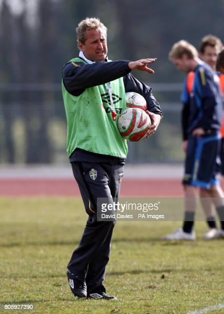 Sweden manager Erik Hamren during the training session at the University Training Pitch Cardiff