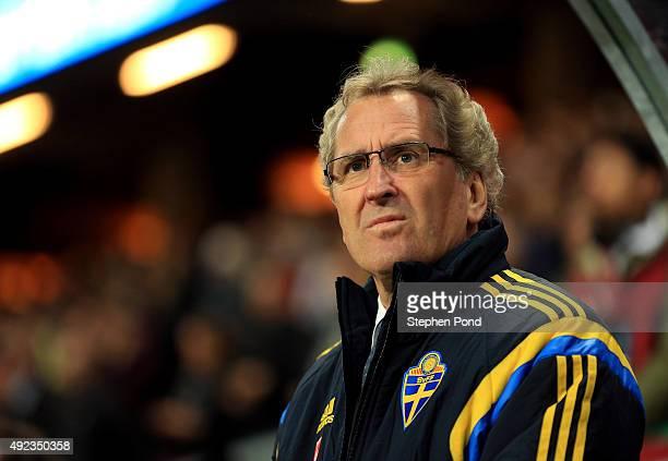 Sweden Manager Erik Hamren during the UEFA EURO 2016 Qualifying match between Sweden and Moldova at the National Stadium Friends Arena on October 12...