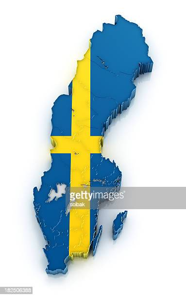 Sweden map filled with the country's flag