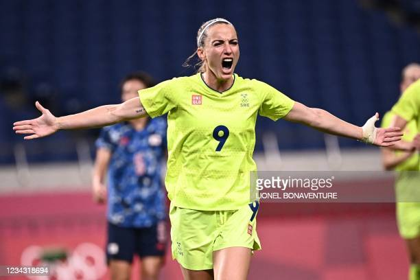 Sweden midfielder Asllani Kosovare celebrates after scoring a penalty during the Tokyo 2020 Olympic Games women's quarter-final football match...
